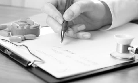 pharmacist writing