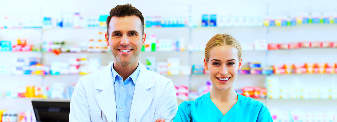 professional pharmacists smiling